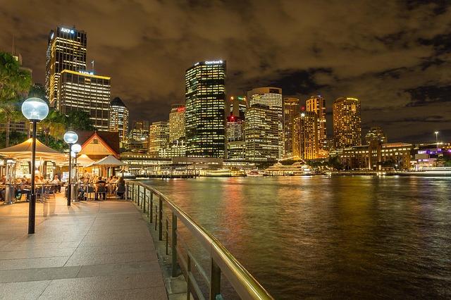Sydney economy at night with residential developments.