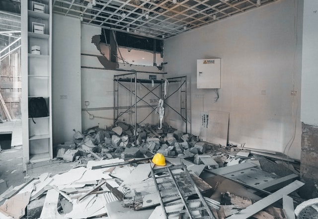 A home in the process of demolition using safe tips and practices.