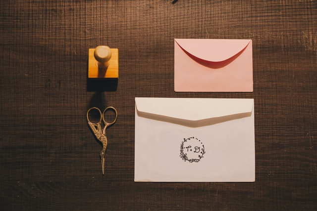 Self inking stamps on envelopes.