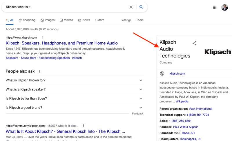 knowledge panel in Google Search