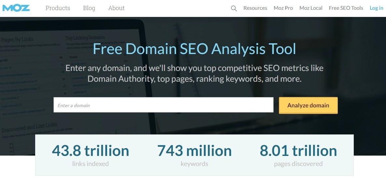 take advantage of Moz's free domain SEO analysis tool