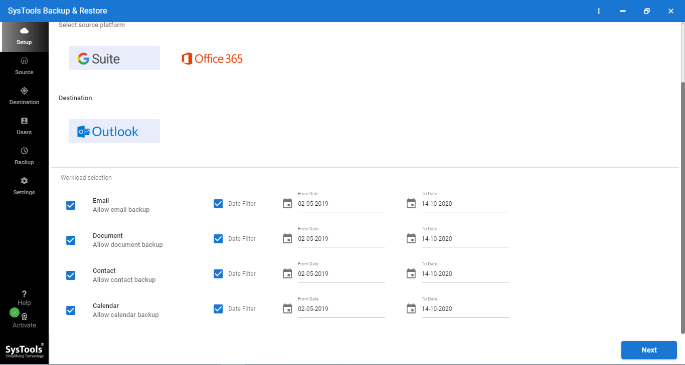 export Google Workspace to PST